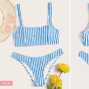 Striped blue swim suite